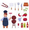 flat style cartoon set of bbq barbecue and funny vector image