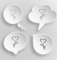 Flower-heart White flat buttons on gray background vector image