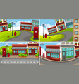 four scenes of town with many buildings vector image vector image