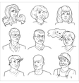 Hand Drawn Avatars Set vector image