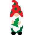 happy christmas gnome with christmas tree on white vector image vector image