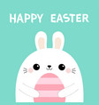 happy easter bunny rabbit holding pink striped vector image vector image