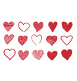 heart doodle icons romantic red symbols vector image