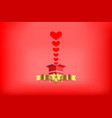 heart red from the box with golden ribbon vector image