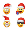 holiday set of smiley face emoticons christmas vector image vector image