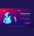 human-robot interaction isometric 3d landing page vector image vector image
