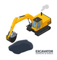 isometric excavator isolated on white background vector image vector image