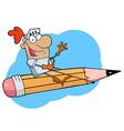 Knight riding pencil cartoon vector image vector image