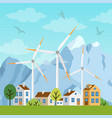 landscape with houses windmills and mountains vector image