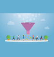 marketing sales funnel with profit result vector image vector image