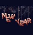 new year low poly copper sign greeting card vector image vector image