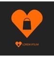 Orange I love shopping logo on black vector image