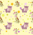 pattern with cartoon cute baby behemoth giraffe vector image vector image