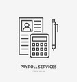 payroll with consultator flat line icon personnel vector image