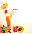 Peach juice in a glass with a flower vector image