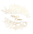 peony rose flowers frame golden wedding invitation vector image vector image