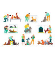 people with animals set vector image vector image