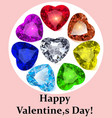 postcard for valentines day with gems precious vector image vector image