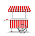 realistic street food cart with wheels mobile red vector image vector image