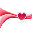 red heart and flowing liquid waves abstract vector image vector image