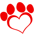 Red Love Paw Print vector image vector image