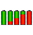 set of battery charge level indicators vector image vector image