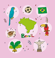 set of national profile of the brasil vector image vector image