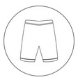 shorts icon black color in circle vector image