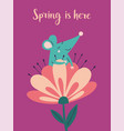 spring is here greeting card with rat vector image
