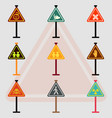 warning road signs collection set of traffic vector image vector image