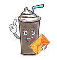 with envelope ice chocolate character cartoon vector image vector image