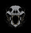 wolf head skull vector image vector image