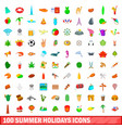 100 summer holidays icons set cartoon style vector image vector image