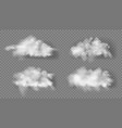 3d realistic transparent fluffy white clouds set vector image