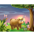 A bear under the tree with four butterflies vector image vector image