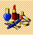 beauty accessories comic book style vector image vector image