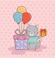 birthday card with cute cat woodland vector image