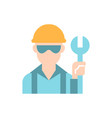 blue collar worker flat color icon vector image