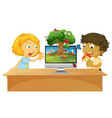 boy and girl next to computer with insect scene vector image vector image