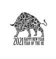 bull with an ornament symbol year vector image