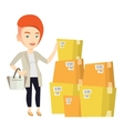 Business woman checking boxes in warehouse vector image vector image