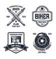 Car repair and biker club emblems vector image
