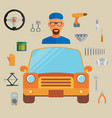 car service concept with flat icons and mechanic vector image vector image