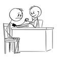 cartoon sick man and medical doctor measuring vector image