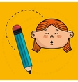 child cartoon pencil icon vector image vector image