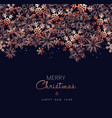 christmas and new year copper snow greeting card vector image vector image