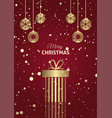 christmas gift background with hanging baubles vector image vector image