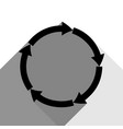 circular arrows sign black icon with two vector image