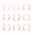 collection different gold silhouette circular vector image