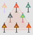 collection of school warning road sign kids road vector image vector image